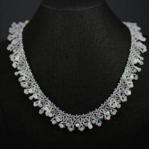 Aquamarine Woven Drop Necklace
