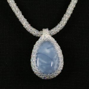 Blue Opal Cab Necklace
