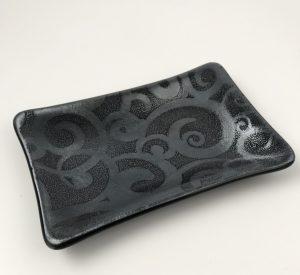 Black fused glass with silver swirls trinket dish