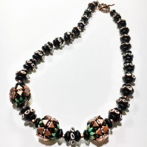 Kheops 20 inch Green 3 Beaded Necklace