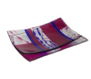 Large platter in bright pink with cobalt blue accents