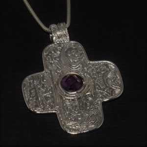 Modern Silver Cross with Amethyst