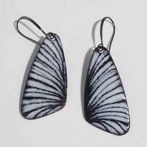 black and white enamel butterfly earrings