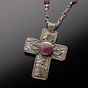 Sterling Silver Cross with Pink Tourmaline