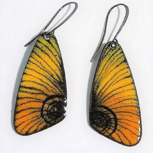 yellow enamel butterfly earrings